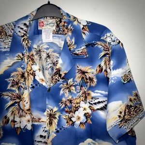 Hilo Hattie Blue Hawaii Aloha Shirt XL Short Sleev